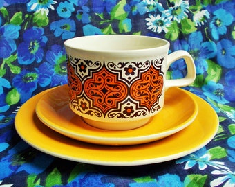 Retro Trio - 1970's - Kilncraft Range by Staffordshire Potteries Ltd - Moroccan style design in yellow, orange & brown on white - used
