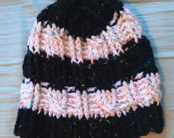 Striped Cabled Beanie