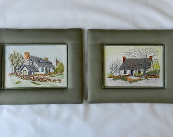 Vintage Hand Embroidered Pictures - English Cottages with Gardens