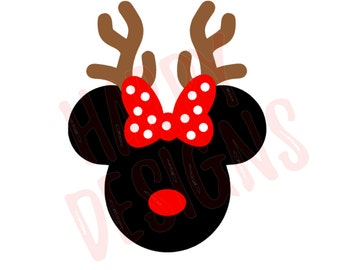 Reindeer Minnie SVG, Christmas SVG, Minnie Mouse Ears SVG, Reindeer Mouse Svg, Minnie Mouse Rudolph, Cricut Cut Files, Silhouette Cut Files