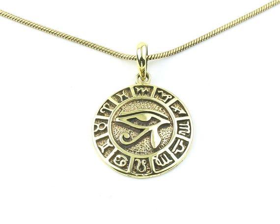 Eye Of Horus Necklace, Zodiac Wheel, Eye Of Ra Pendant, Egpytian, Star Signs, Festival Jewelry, Boho, Bohemian, Gypsy, Hippie, Spiritual