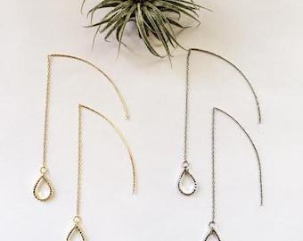 Drop charm threaded earrings