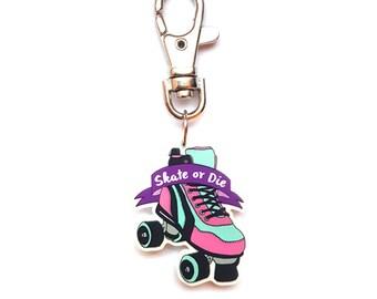 Derby girl keyring - 80's rollerskate roller derby charm