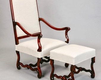 vintage peacock chair with matching ottoman