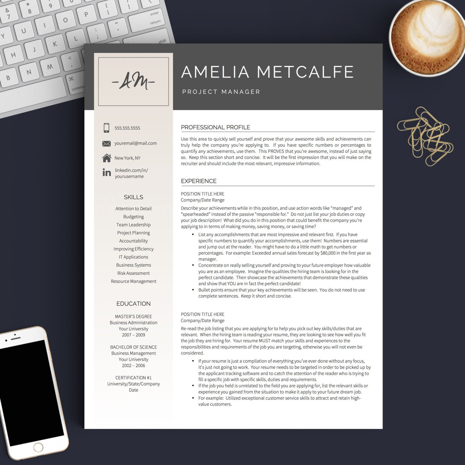 creative resume template for word  u0026 pages 1 2 and 3 page