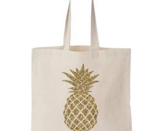 Gold Glitter Pineapple Tote Bag, Gold Pineapple Bag, Pineapple Bachelorette, Pineapple Canvas Tote Bag, Pineapple Gift, Pineapple Print Tote