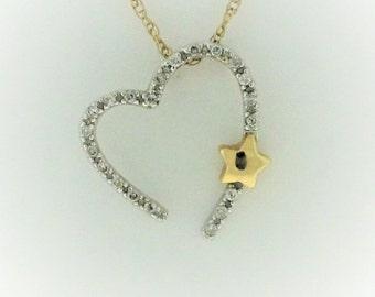 Diamond Open Heart Necklace - 14k White Yellow Gold