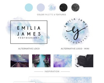 LOGO KIT, Premade Logo Designs, Watercolor Logo, Signature Logo, Branding Package, Blue Purple Logo, SIlver Logo, Photography Logo