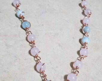 Rose Quartz x Aquamarine Clasp Mala