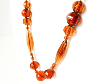 Amber Glass Beads | Long Single Strand Beaded Design | Hand Knotted Brown Bead Necklace | Glam Vintage Boho Jewelry
