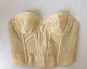Women's Size 34A - Vintage 70s Lightly-Lined Strapless Underwire Corset ~ Backless by Young Smoothie