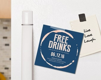 Free Drinks Save the Date, Printable, Custom, Coaster, Lighthearted, Funny | A Bribe & A Wedding