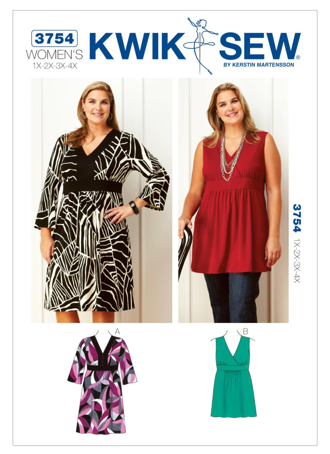 Sewing Pattern for Women's Plus Size V-Neck Dress and ...