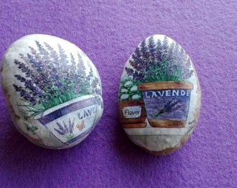 DUETTO stone PAPERWEIGHT with Lavender decor decoupage