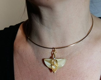 Rigid gold choker with man made mother of pearl pendant brass and pearl
