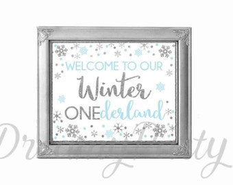 "Winter ONEderland Sign, Welcome Sign, Blue and Silver party Sign 10""x8"", Winter onederland decorations, Digital File."