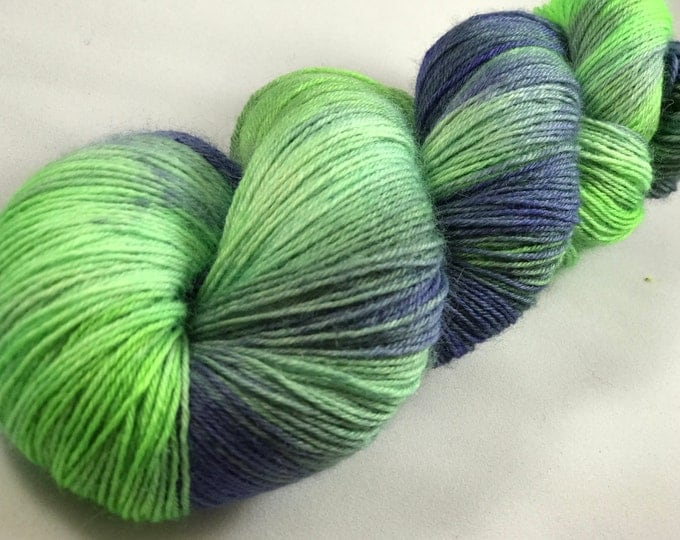 "Hand Dyed Fingering Yarn, 100% Superwash Bluefaced Leicester Wool ""Purple Slime"""