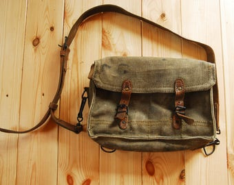 Vintage French 1950's Military Style Canvas & Leather Bag CEFAC Limoges