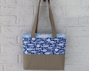 Nautical tote bag / Khaki and blue fabric handbag / Handmade purse / Nautical bag / Khaki shoulder bag / Tote bag / Fish fabric / Blue bag
