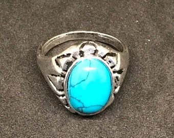 Man-made Blue and Black Round Turquoise and Silver-plated Ornate Rings