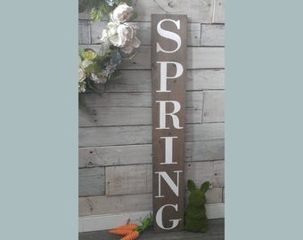 """SPRING wooden rustic plague sign / welcome / Easter / Porch Sign / outdoor/ seasonal /  Farmhouse / 36"""" x 5.75"""""""
