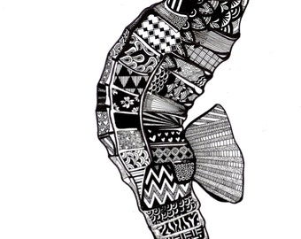 SEAHORSE (original and fine illustration of animal, fish, patterns and ink) Print