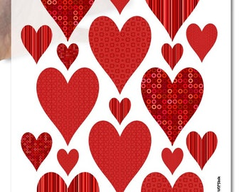 Decoupage Soft Paper | big red hearts valentine's day wedding engagement love heart pattern