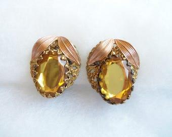 Ornate Clip On Earrings - Yellow Vintage Earrings