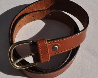 Vintage brown leather belt KEYWEST Size 36 FR