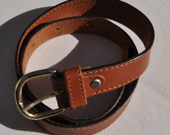 Ceinture vintage en cuir marron KEYWEST Taille 36