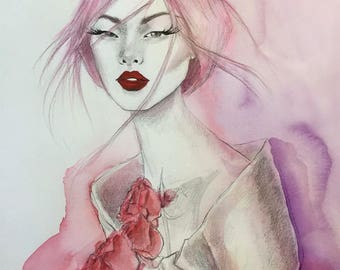 Red as a rose Original Watercolor and acrylic fashion illustration Painting