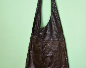 80s snakeskin bag / shoulder bag  / leather / vintage / brown / big bag