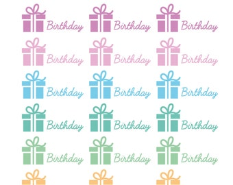 24 x Birthday Stickers Planner Present Party Hat Banner Diary Calendar Reminder Happy