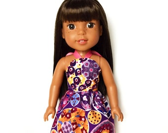 Halter Dress, Abstract, Purple, Pink, Yellow, Blue, 14.5, Fits dolls such as AG Wellie Wishers Doll Clothes, Spring, Summer