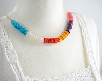 Fun Summer Color Block Necklace Rainbow Necklace Stacked Colorful Button Necklace Eco Friendly String Necklace Statement lgbt jewelry