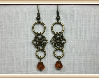 Amber Glass Crystal and Bronze Vintage Drop Style  Earrings