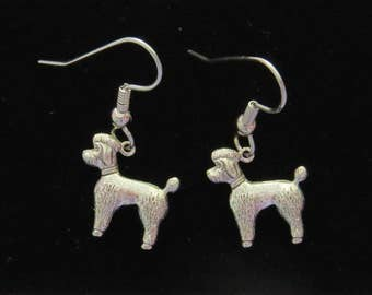 French Poodle Earrings Antiqued Brass or Silver Plate Dogs Poodles EG459 / ES226