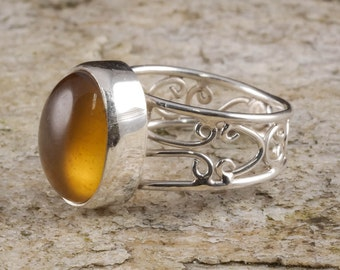 Size 8 AMBER Ring Sterling Silver Bezel Ring - Natural Amber Stone Cabochon J659