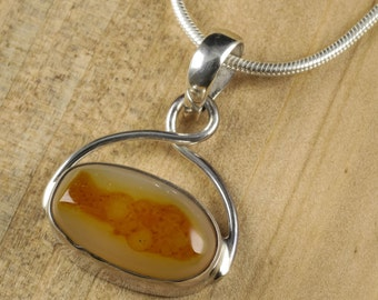 3cm Fish AGATE Pendant - Natural Agate Cabochon in Sterling Silver Bezel for Agate Necklace, Stone Jewelry & Agate Jewelry Making J1011