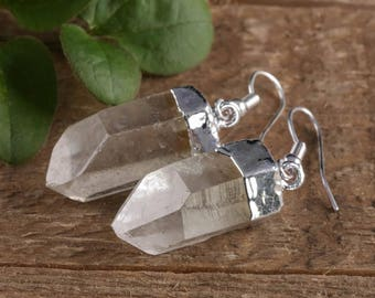 2.5cm Raw QUARTZ Earrings- Rough Gemstone Earrings with Clear Quartz Crystal Point & Silver Earrings, Crystal Jewelry Handmade Jewelry E0260