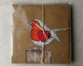 Robin Red Breast Greetings Card - Handmade, MADE TO ORDER, Birds, Nature