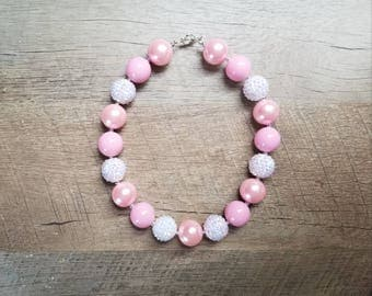 Pink and White Chunky Necklace, Bubblegum Bead Necklace, Chunky Beads, Baby Bubblegum Necklace, Bubblegum Necklace, Pink Chunky Necklace