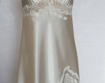 COMBINATION wedding dress size 40-nightdress set-Nightgown marfil-camison to novia-combinacion bias-Nightgown - lace applied-opening CS04
