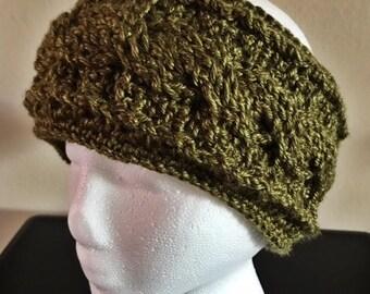 Cabled Headband | Crochet Ear Warmers | Forest Green | Women's Ear Warmers