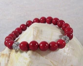 Red Riverstone Bracelet, Riverstone Stretch Bracelet, Stretch Bracelet, Gemstone Bracelet, Positive Energy, Protective Bracelet, Bracelet
