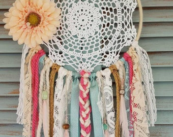 Pink and turqouise dream catcher// bohemian dreamcatch// nursery decor//