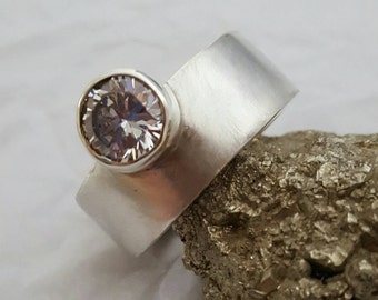 Contemporary 10 mm Wide (3mm Thick) Band Sterling Silver Ring with Hand Set Thick Walled Bezel Set Offset Facetted Cubic Zirconium