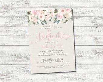 Printable Neutral Rustic Baby Dedication Invitation // Christening Invitation // Baby Baptism Invitation for Girl