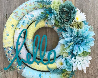 Hello Spring Wreath, Fabric Wrapped Wreath, Spring Floral Wreath, Front Door Easter Wreath,  Teal Spring Wreath, Front Door Spring Wreath,