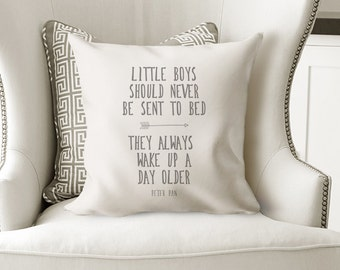 Peter Pan Quote Pillow, Throw Pillow, Decorative Pillow, Pillow Cover, Farmhouse Decor, Cottage Chic, Industrial, Boys Room, Nursery Pillow